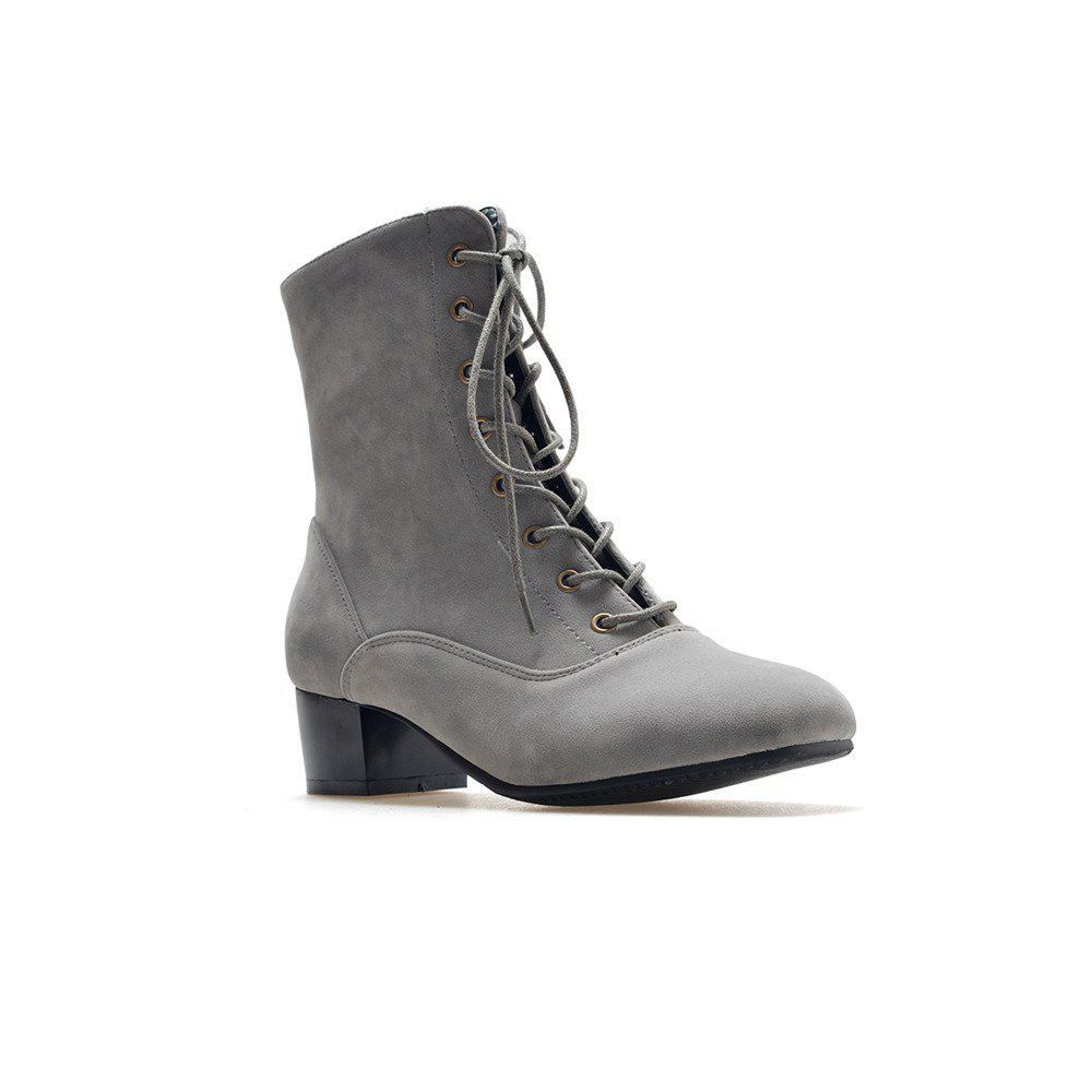 Miss Shoe B05 New Style Square Head Show Thin Boots with Short Boots - GRAY 32