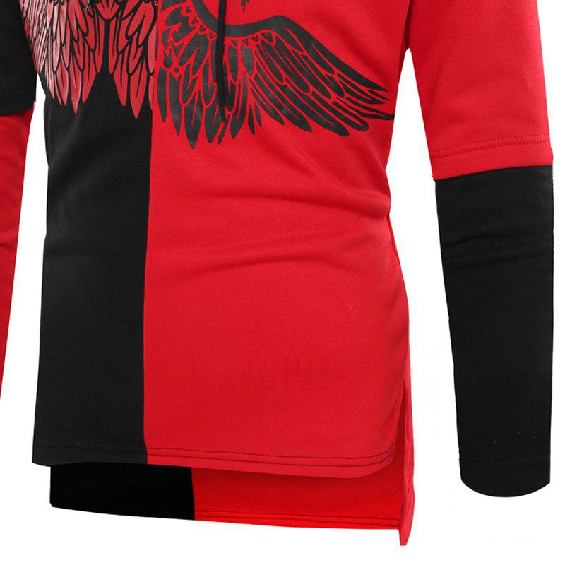Fashion Stitching Wings Printed Men'S Casual Hoodie - BLACK/RED L