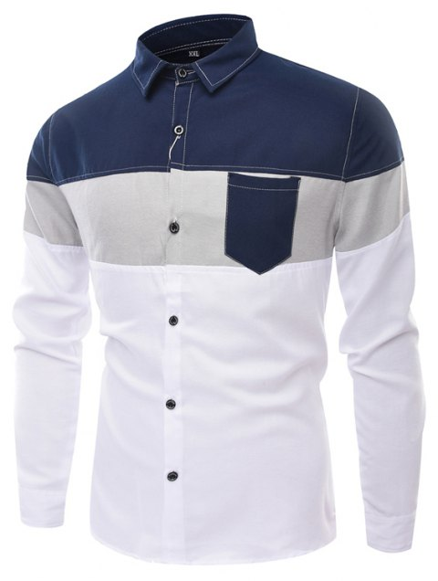 Men'S Long Sleeved Shirts Men of Fashion Leisure and Splicing - CERULEAN 3XL
