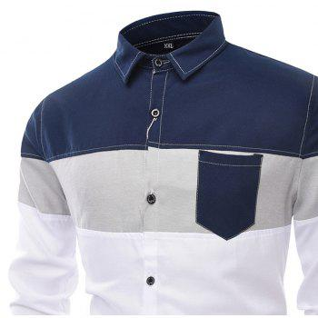 Men'S Long Sleeved Shirts Men of Fashion Leisure and Splicing - CERULEAN 2XL