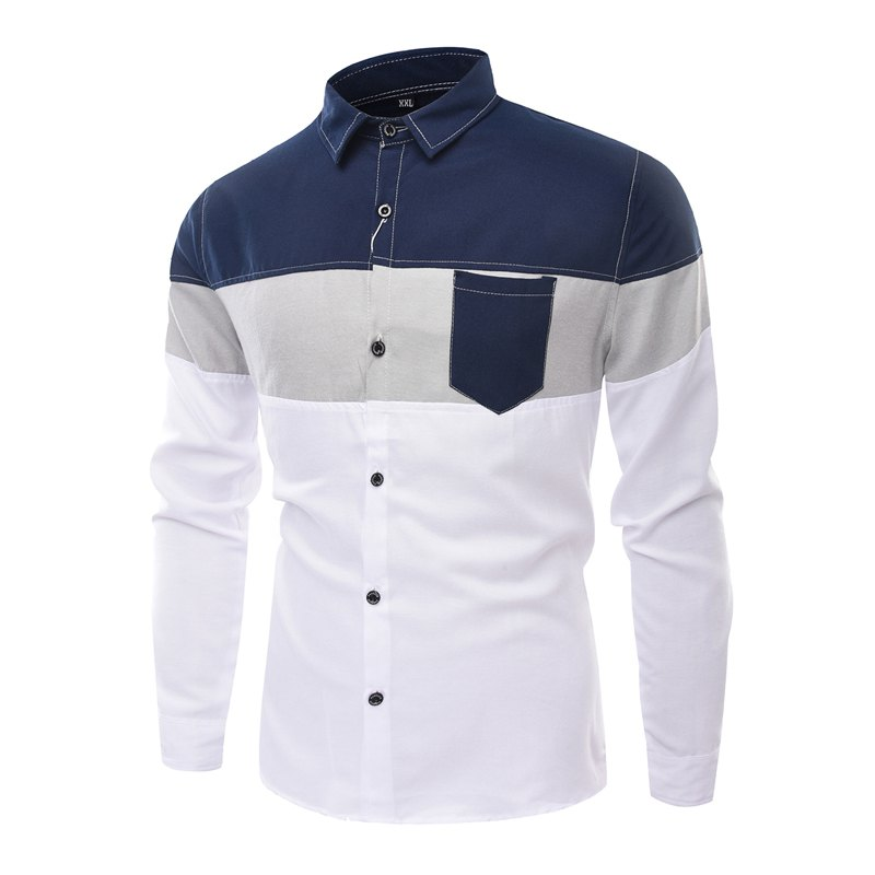 Men'S Long Sleeved Shirts Men of Fashion Leisure and Splicing - CERULEAN L