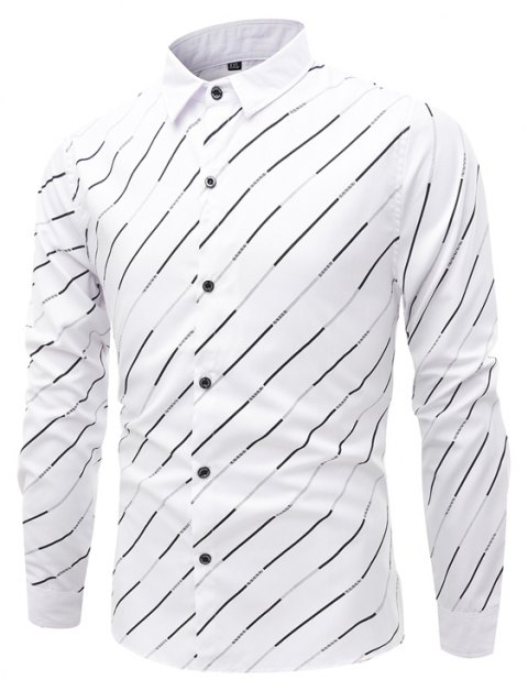 Trendy Streak Lapel Men'S Long Sleeved Shirt - WHITE L