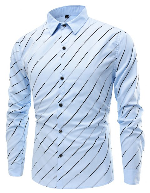 Trendy Streak Lapel Men'S Long Sleeved Shirt - LIGHT BLUE 4XL