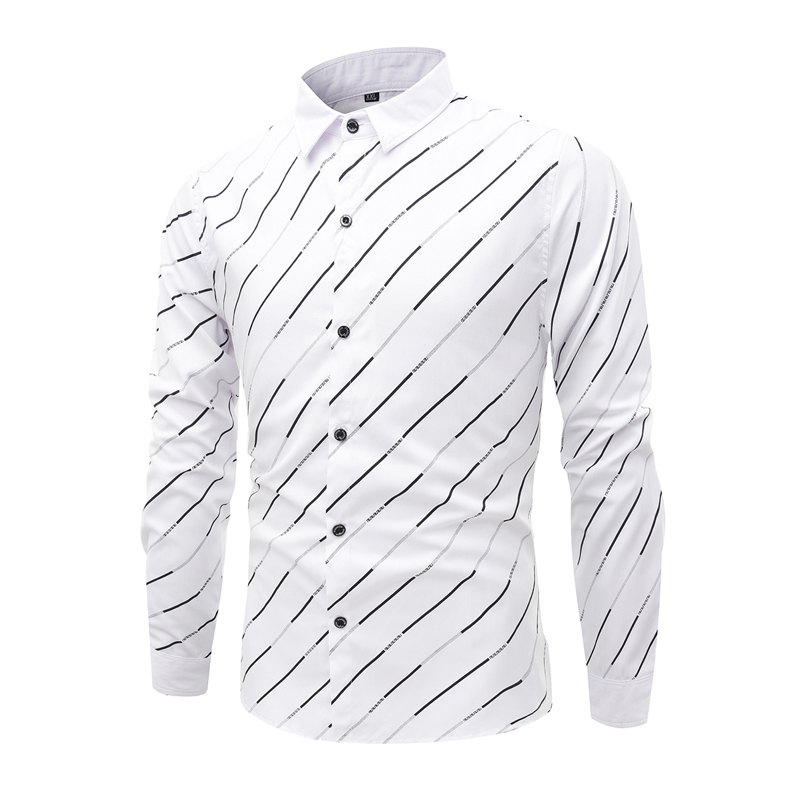 Trendy Streak Lapel Men'S Long Sleeved Shirt - WHITE 4XL