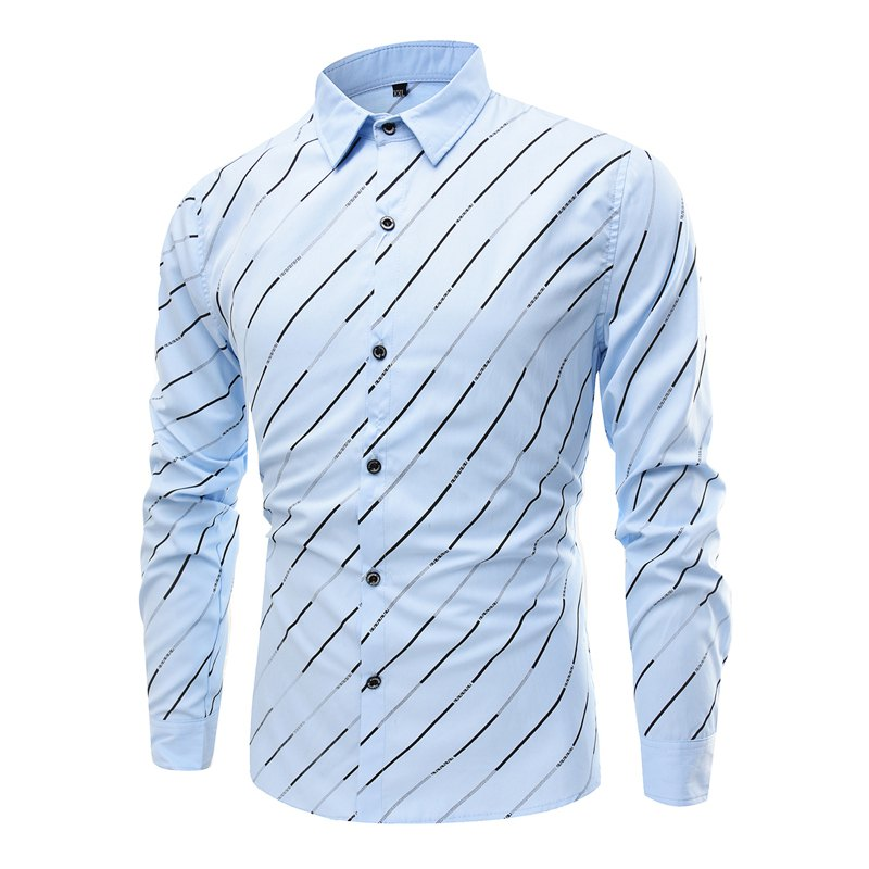 Trendy Streak Lapel Men'S Long Sleeved Shirt - LIGHT BLUE 3XL