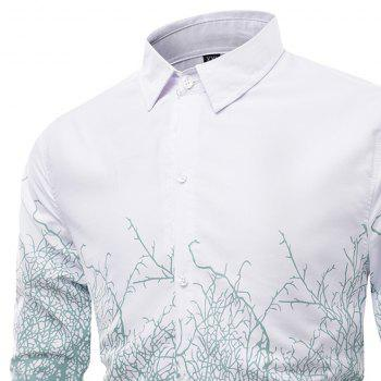 Fashion Collar and Twig Printing Men'S Long Sleeved Shirt - IVY 3XL