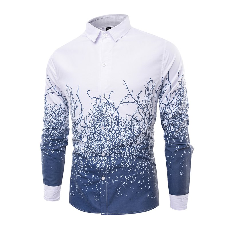 Fashion Collar and Twig Printing Men'S Long Sleeved Shirt - ROYAL M