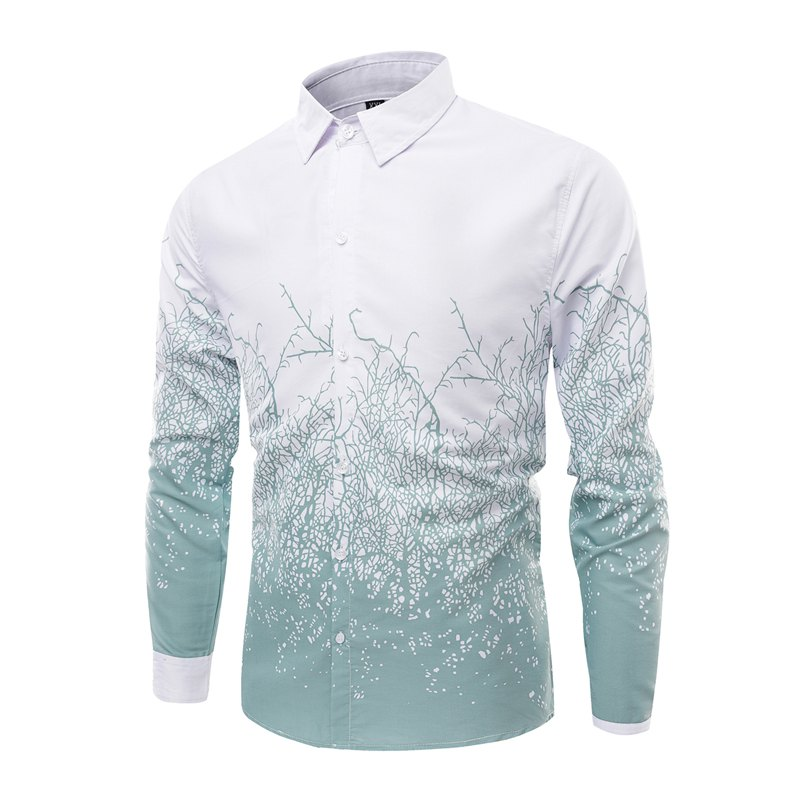 Fashion Collar and Twig Printing Men'S Long Sleeved Shirt - IVY M