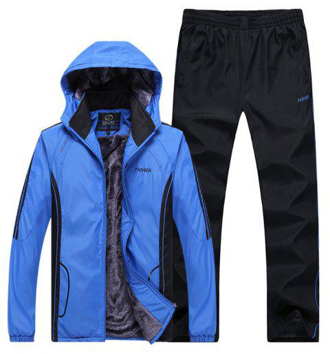 Autumn and Winter Plus Velvet Men'S Sportswear Suit Thick Warm Casual Outdoor Windbreaker - BLUE 2XL
