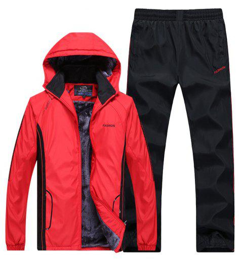 Autumn and Winter Plus Velvet Men'S Sportswear Suit Thick Warm Casual Outdoor Windbreaker - RED 2XL