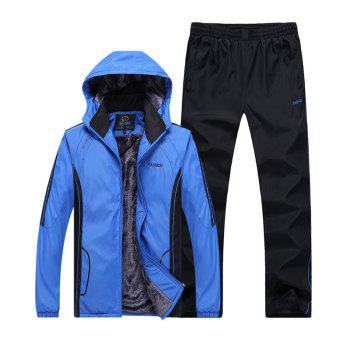 Autumn and Winter Plus Velvet Men'S Sportswear Suit Thick Warm Casual Outdoor Windbreaker - BLUE BLUE