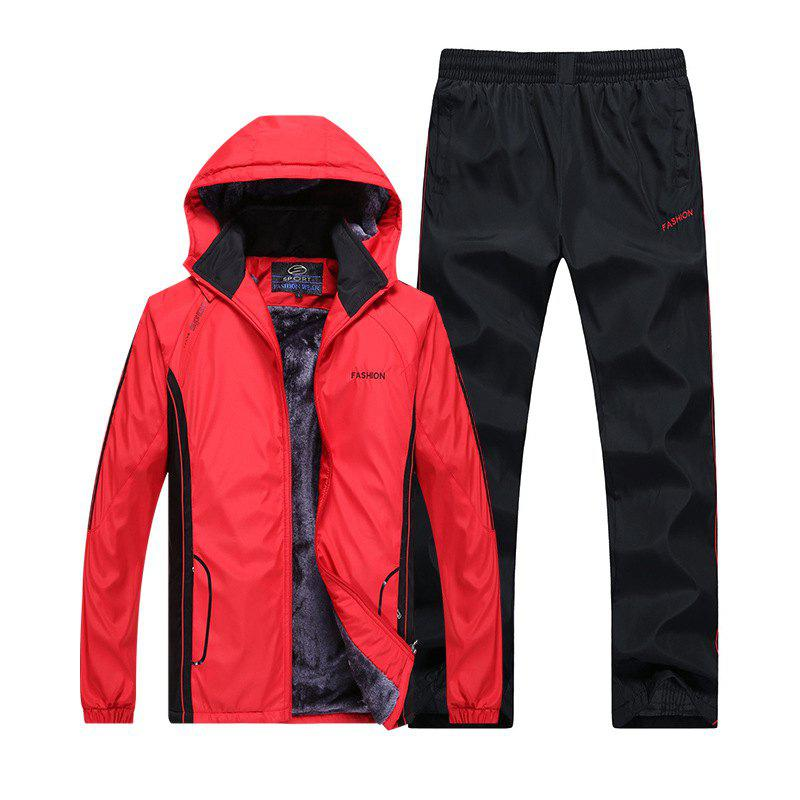 Autumn and Winter Plus Velvet Men'S Sportswear Suit Thick Warm Casual Outdoor Windbreaker - RED 4XL