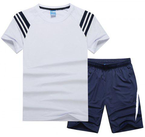 Men'S Sportswear Cotton Shorts T-Shirt Fitness Running Basketball Wear - WHITE M