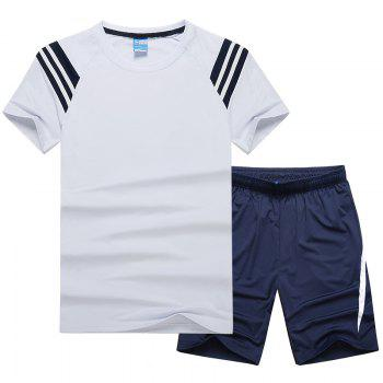 Men'S Sportswear Cotton Shorts T-Shirt Fitness Running Basketball Wear - WHITE WHITE