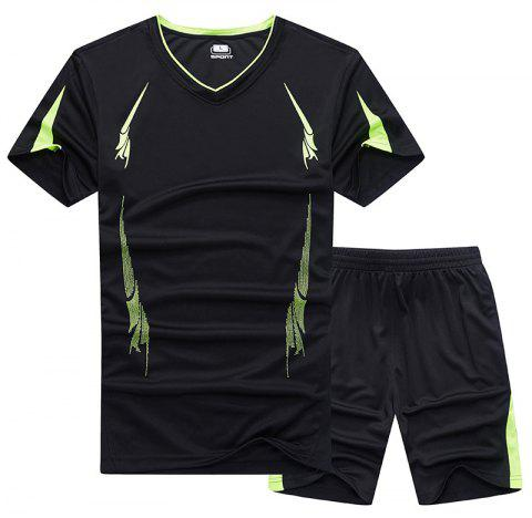 Summer Men'S Sports Suit Fitness Running Clothes Short-Sleeved Quick-Drying T-Shirt Pants Pants Basketball Clothes - BLACK 3XL