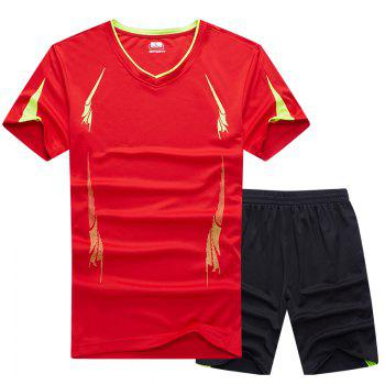 Summer Men'S Sports Suit Fitness Running Clothes Short-Sleeved Quick-Drying T-Shirt Pants Pants Basketball Clothes - RED 5XL