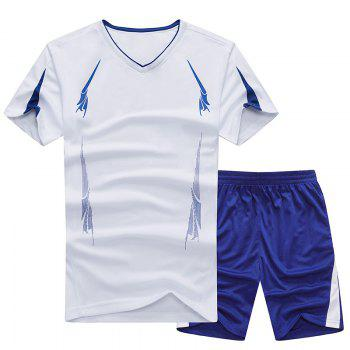 Summer Men'S Sports Suit Fitness Running Clothes Short-Sleeved Quick-Drying T-Shirt Pants Pants Basketball Clothes - WHITE WHITE