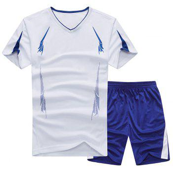 Summer Men'S Sports Suit Fitness Running Clothes Short-Sleeved Quick-Drying T-Shirt Pants Pants Basketball Clothes - WHITE 2XL