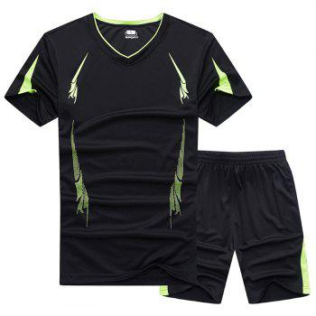 Summer Men'S Sports Suit Fitness Running Clothes Short-Sleeved Quick-Drying T-Shirt Pants Pants Basketball Clothes - BLACK 5XL
