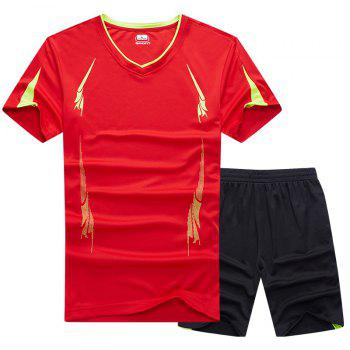 Summer Men'S Sports Suit Fitness Running Clothes Short-Sleeved Quick-Drying T-Shirt Pants Pants Basketball Clothes - RED 2XL