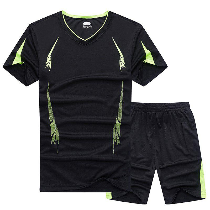 Summer Men'S Sports Suit Fitness Running Clothes Short-Sleeved Quick-Drying T-Shirt Pants Pants Basketball Clothes - BLACK L