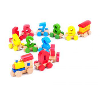 Interesting Digital Train Baby Wooden educational Early Education Diy Stitching Toy -  COLORMIX