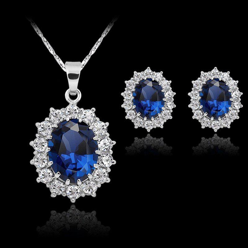 Fashion Silver Filled Blue Sapphire Crystal Christmas Jewelry Sets Snowflake Necklace Earrings игрушка ecx torment silver blue ecx03033t1
