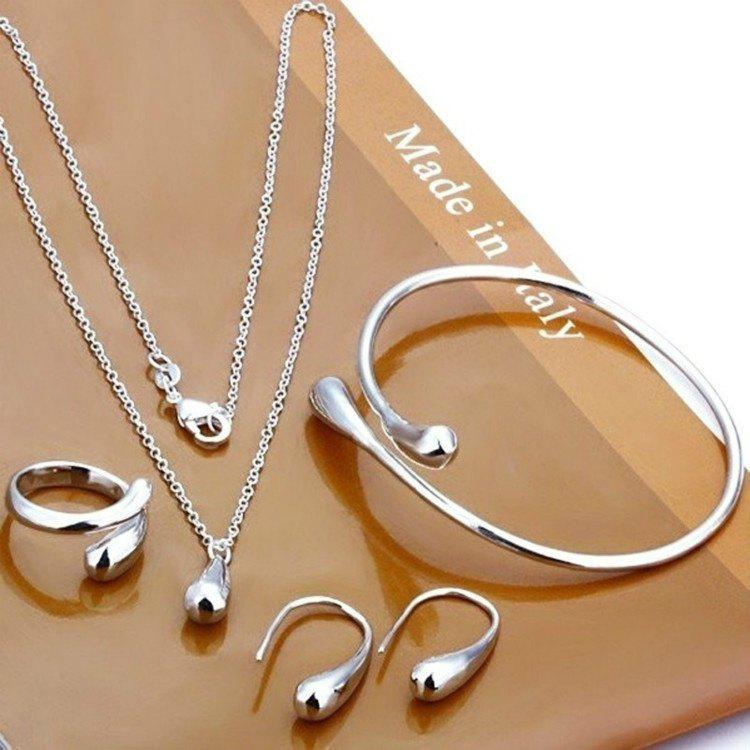 Hot Sale Wedding Fashion 925 Silver Plated Jewelry Set Big Hand Chain Bracelet Necklace Ring Hook Oval Earings Eardrop Water Drop - AS THE PICTURE