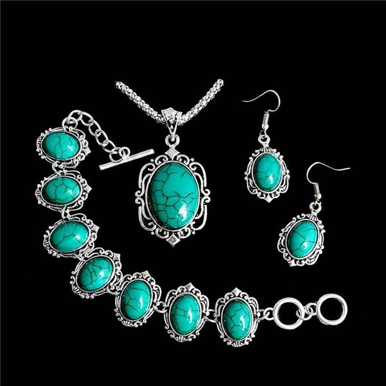 Vintage Tibetan Silver & Turquoise Necklace Bracelet Earrings Jewelry Sets for Women - TURQUOISE