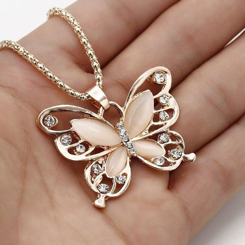 купить 2017 New  Rose Gold Opal Butterfly Pendant Necklace Sweater Chain Long Necklace For Women Girls Jewelry(Color: Rose gold) недорого