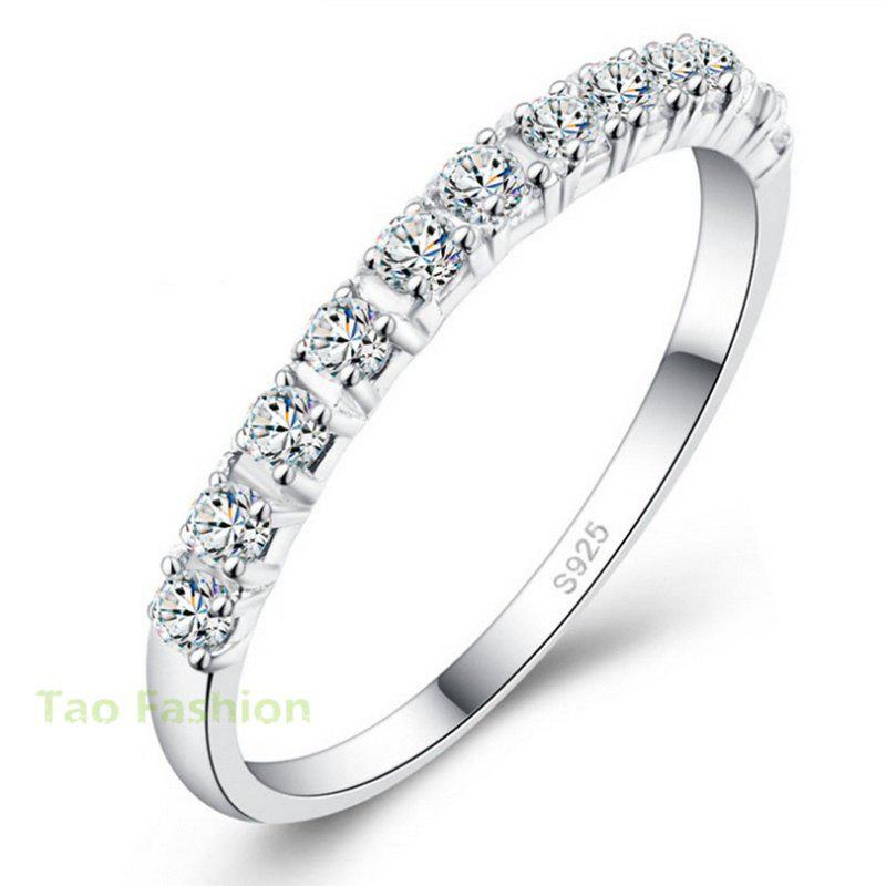 2018 New Design Wedding Rings Women 925 Sterling Silver Simulated ...
