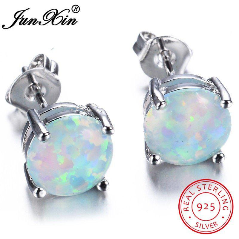 Junxin Cute 925 Sterling Silver Round Cut White/Blue Fire Opal Stud Earrings Wedding Jewelry 6MM - BLUE