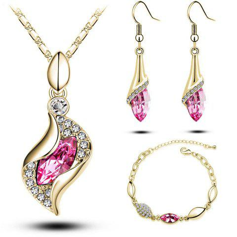 MODA Elegant Luxury Design New Fashion 18k Rose Gold Plated Colorful Crystal Drop Jewelry Sets Women Gift - RED