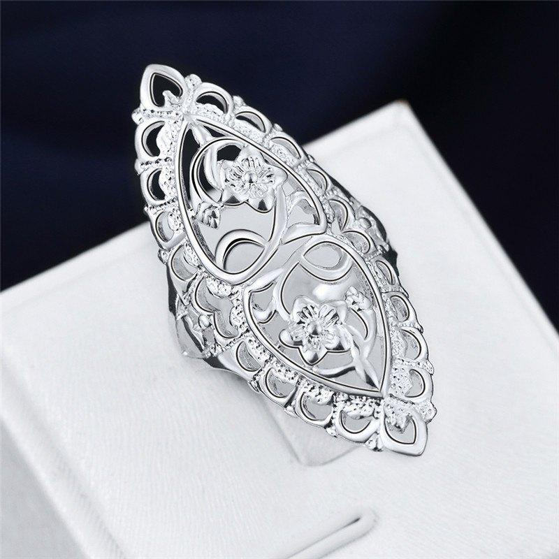 Fashion Cute 925 Sterling Silver Filled Hollow Big Ring Ladies Finger Jewelry Gift - SILVER A-10