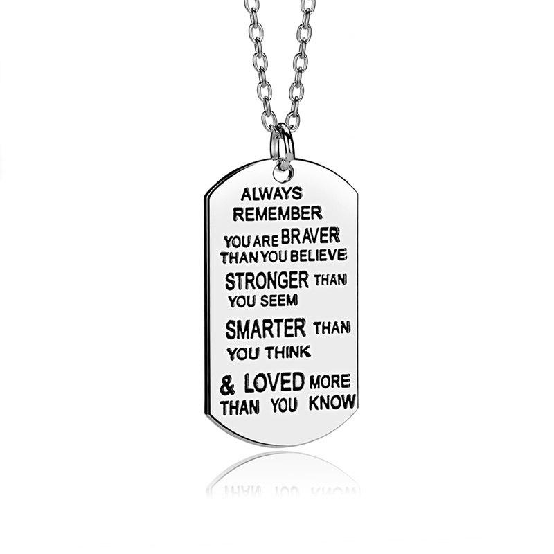 2018 lettering always remember you are braver pendant