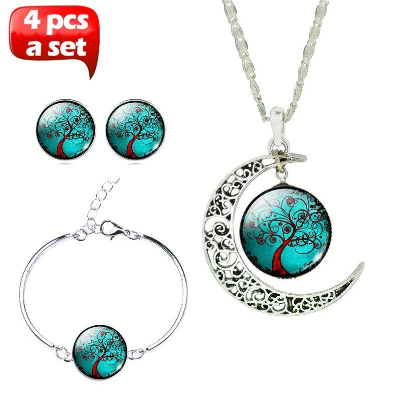 Glass Cabochon Necklace & Earrings & Bangle Set(Totally 4 pcs) Colorful Life Tree Art Picture Pendant Statement Chain Crescent Moon Necklace Stud Earrings Bracelet Bangle Set for Women's J - multicolorCOLOR