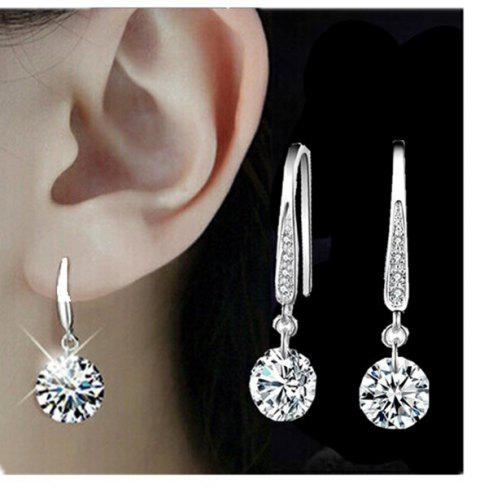 Fashion Jewelry 925 Sterling Silver Plated Crystal Hoop Dangle Earring Stud - SILVER