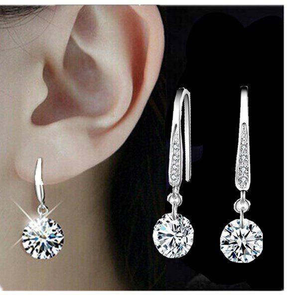 HEXIN Fashion Jewelry 925 Sterling Silver Plated Crystal Hoop Dangle Earring Stud - AS THE PICTURE