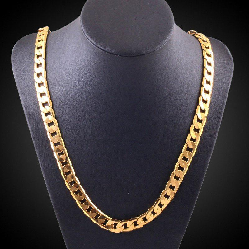 18-30 inches European Fashion Luxury Exaggerated Men Women Gold Chain Necklace 6mm Exquisite Sideways Chain Wedding Jewelry Party Gifts