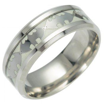 Europe and The United States New Titanium Steel Jewelry Luminous Batman Ring Fluorescence - SILVER 8