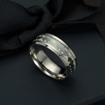 Europe and The United States New Titanium Steel Jewelry Luminous Batman Ring Fluorescence - SILVER SILVER