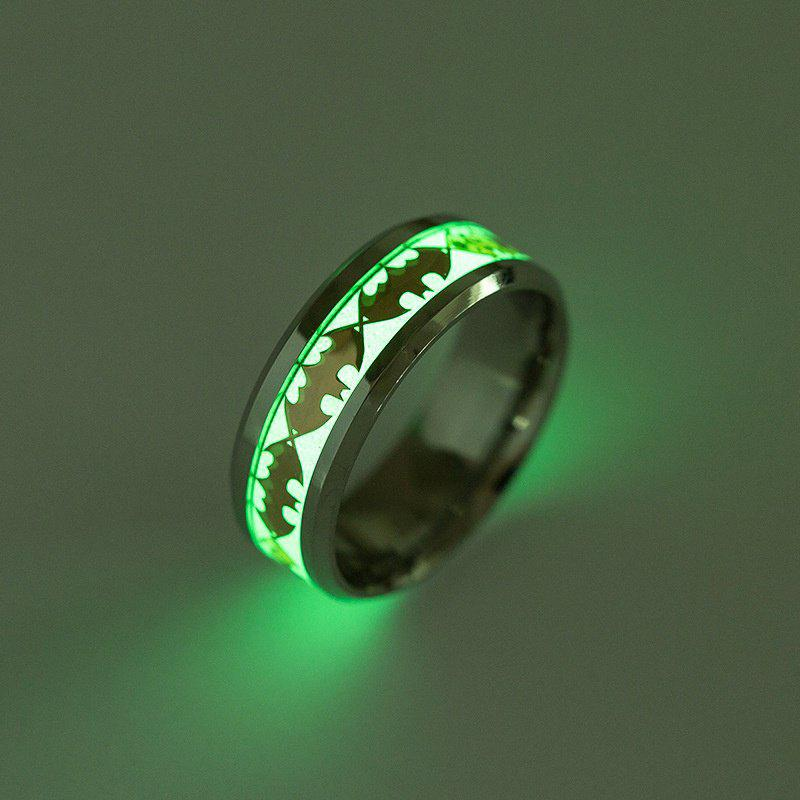 Europe and The United States New Titanium Steel Jewelry Luminous Batman Ring Fluorescence - GOLD 10