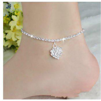 Europe and The United States Fashion Personality Love Full Diamond Foot Chain Wild Sexy Heart Foot Jewelry - SILVER SILVER