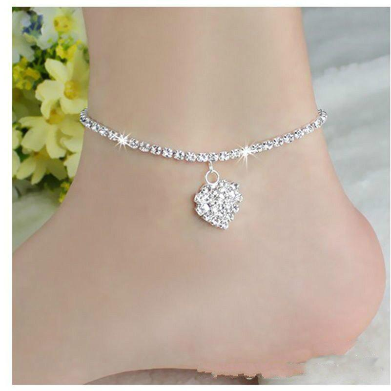 Europe and The United States Fashion Personality Love Full Diamond Foot Chain Wild Sexy Heart Foot Jewelry - SILVER
