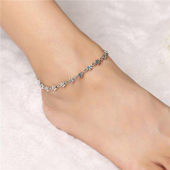 1 PC Retro Women Silver Bead Chain Anklet Heart Plum Flower Ankle Bracelet Barefoot Sandal Beach Foot Jewelry