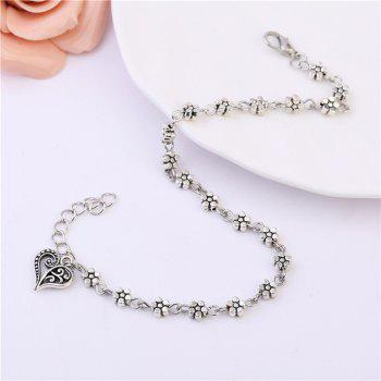 1 PC Retro Women Silver Bead Chain Anklet Heart Plum Flower Ankle Bracelet Barefoot Sandal Beach Foot Jewelry - SILVER