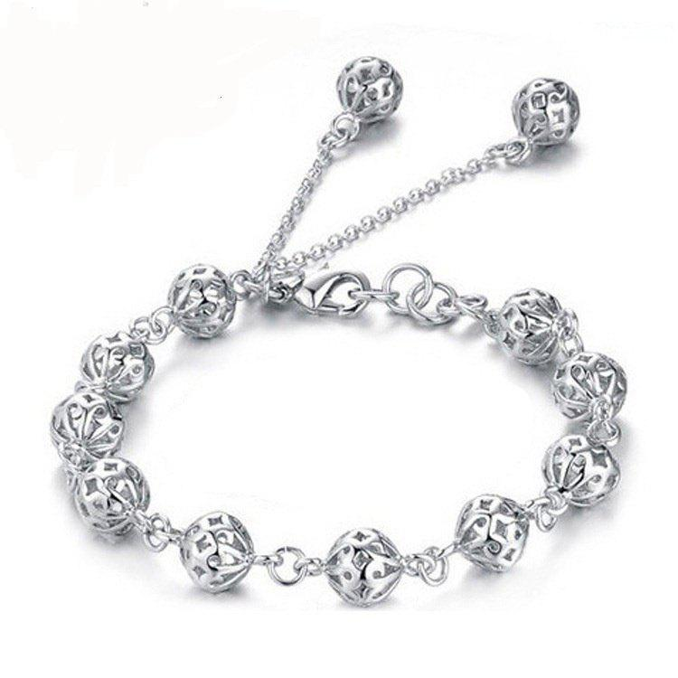 Women Bracelet Europe and The United States Fashionable Copper and White Stunt Dragon Ball Bracelet - SILVER