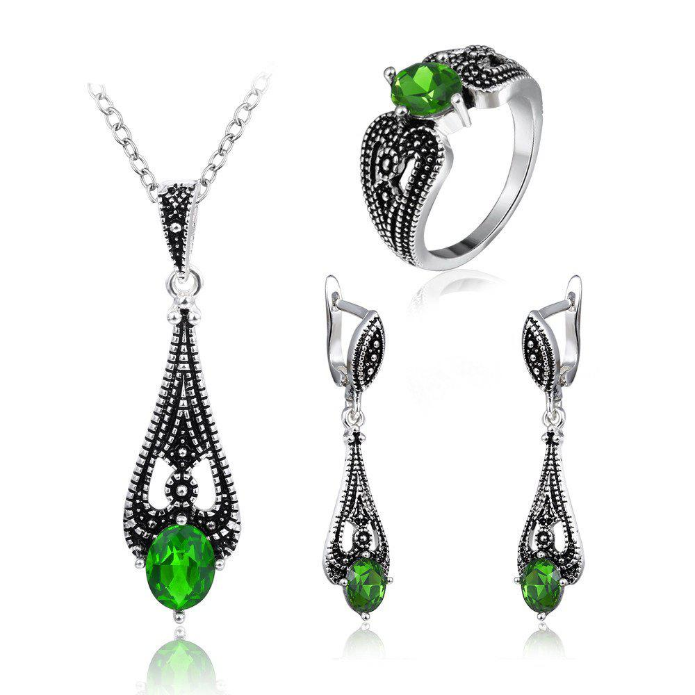 2017 Trend of Jewelry Sets of Foreign Trade Bursts Retro Silver-plated Green Diamond Suit Europe and The United States Popular Jewelry - GREEN PACK OF 4
