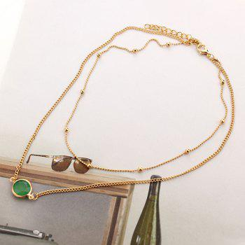 European and American Multi-layer Necklace Female Natural Opal Inlaid Double Necklace - WHITE