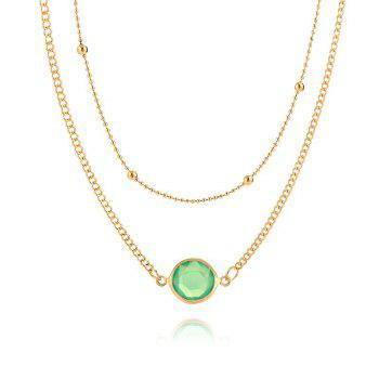 European and American Multi-layer Necklace Female Natural Opal Inlaid Double Necklace - GREEN